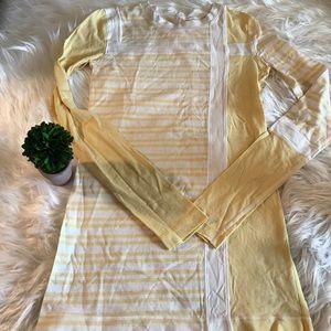 Lululemon Sz 4 Yellow White Stripe Long Slv Shirt